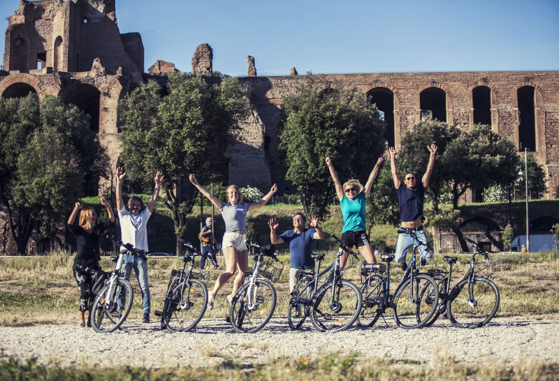 Bikes_riders_jumping_palatine_hill during a bike private tour