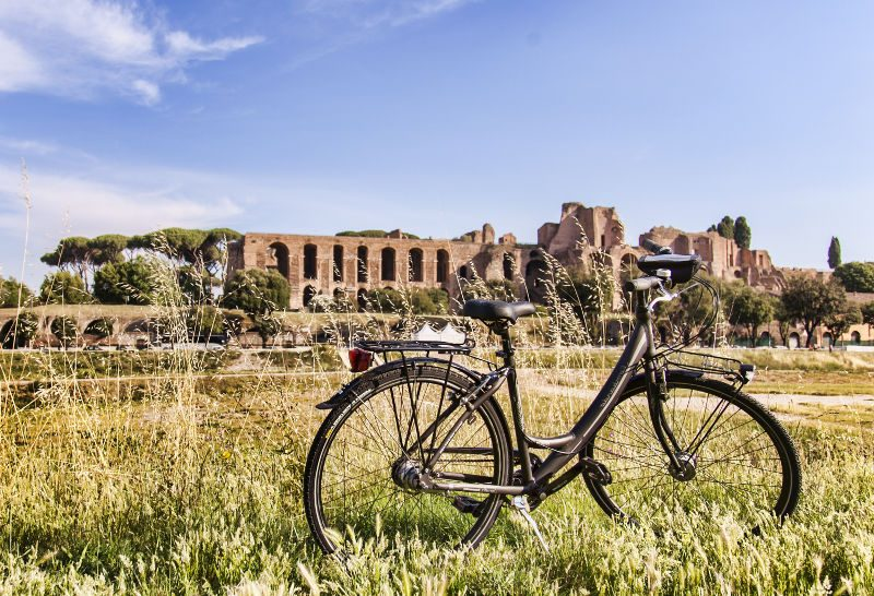 A Trekking Bike with the Palatine Hill of Rome in the background.